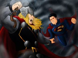 Supes vs Thor by zclark