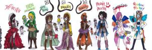 a lot of creepypasta inspired outfits by NENEBUBBLEELOVER