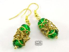 Green Turkish Orbital Earrings by Zsamo