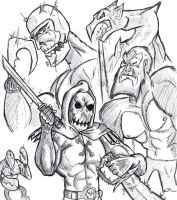 Skeletor and his EVIL FORCES by benzaie