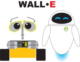 Wall-E and EVE by mortifydpenguin