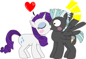 Rarity surprise kisses Thunderlane by beats0me