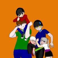 """The triplets. """"Dad"""", and Kaze by BigAssFamily"""
