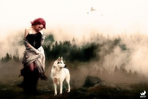 Woman and wolf in the dark by artwebdesigner