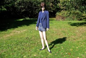 Jane's Blue Blazer+Jeans Skirt+Black Penny Loafers by peerlesspenny
