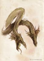 two headed dragon sketch by Nuctameron