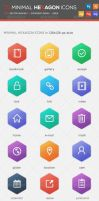 75 Minimal Hexagon Icons by KL-Webmedia