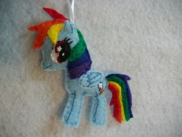 Rainbow Dash Handmade Mini Felt Ornament by grandmoonma