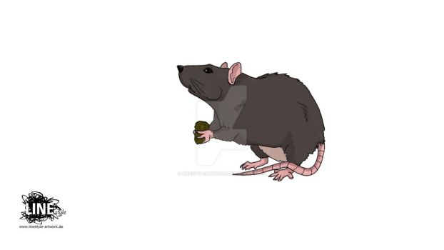 little rat eating by LinestyleArtwork