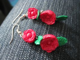 Red Rose Earrings by Sigilien