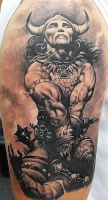 conan frazetta tattoo by optimuspint