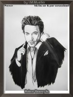 Robert Downey Jr in ink and watercolored by honeylips1