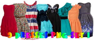 9 Dresses Png SET_1 by JEricaM