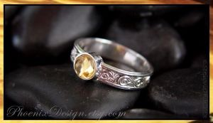 Citrine Cabochon Embossed Ring by StephaniePride