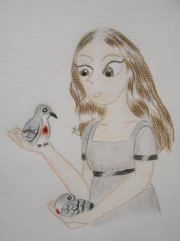 Mary Shelley with two luzon bleeding heart doves by Snails-flowers