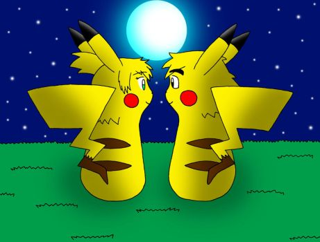 Two Pikachus and the Moon by streetgals9000