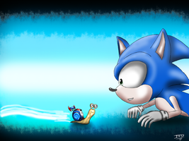 Fan art DreamWorks / SEGA - Turbo and Sonic by JackFrostOverland