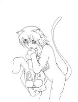 Me in a bunny suit with cat ears and tail by AbyVanEnvurio