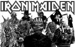 Iron Maiden - Eddie collage in black and white by croatian-crusader