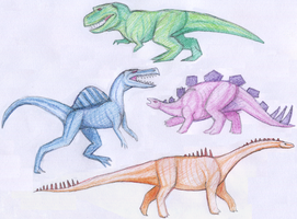 Rainbow Dinos by qwerty1198