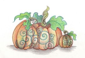Three Pumpkins by Spiralpathdesigns