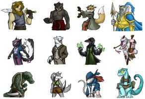 Card game Characters -in color by Dsurion