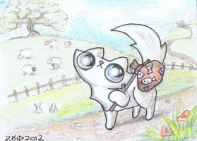 Funny cat leaves home ACEO by KingZoidLord