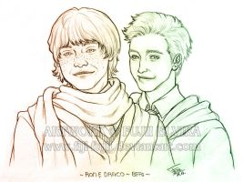 HP: Ron and Draco - BFFs by Fiji-Fujii