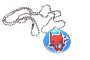 Sugar Glitter Hand Drawn Devil Pendant by PinkChocolate14