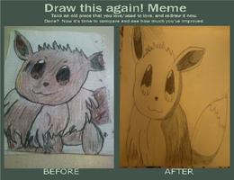 EEVEE Before and After Meme by pokemonrockstar