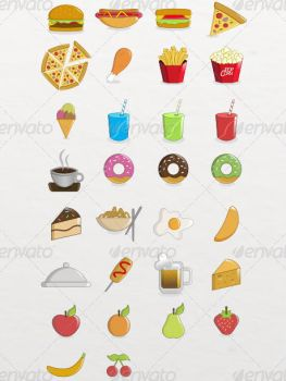 30 Food Icons Pack by etnocad