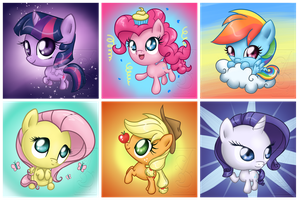 Mane 6 Button Redesigns by LinksLove
