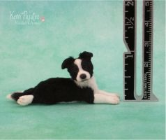 Miniature Border Collie pup sculpture by Pajutee