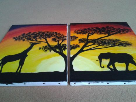 African sunset - Acrylic on canvas by Panda2018