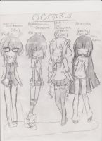 A few of my female OC's Chibi Form by LadyDeathCandy