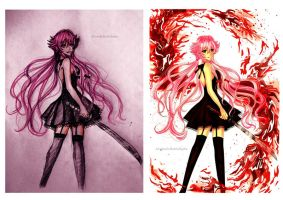 Yuno Gasai Traditional VS Digital by AlcoholicRattleSnake