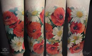 Poppies and daisies by Olggah