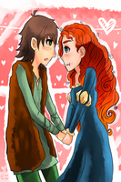 Merida and Hiccup by Rainbow-Nebula