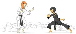 Karate Girls by jaxxyart