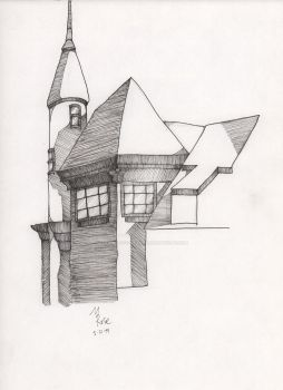 House In Sunlight - Pen and Ink by Teatime-of-the-Dead