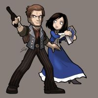 BIOSHOCK INFINITE Booker DeWitt and Elizabeth by SandikaRakhim