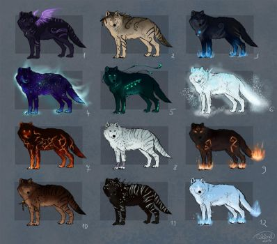 Fantasy Wolves Adoptables - OPEN! by x-Celebril-x