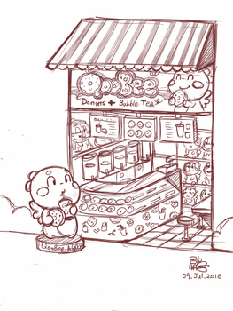 QooBee Themed Donut and Bubble Tea Store Design by goloops