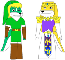 Toon-Earth Link and Zelda by jacobyel