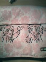Demyx + Axel on my bag by Saria-chan