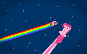 Nyan Cat and Pinkie Pie wallpaper by nestordc