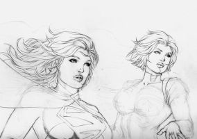 Supergirl and Powergirl by DLimaArt