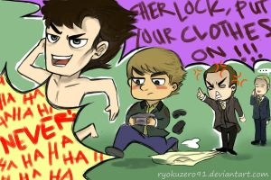 Sherlock, put your CLOTHES on!! by ryokuZero91