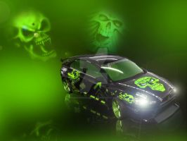 Green Skull-Lancer Evolution X by NEcrOMAnCERDEmON