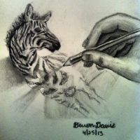 3D zebra drawing by DevonDavis